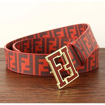 FENDI Popular Woman Men Classic F Letter Smooth Buckle Belt Leather Belt(8-Color) Red I12815-1