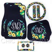 Sunflower Car Accessories Set Monogrammed Car Floor Mats Steering Wheel Cover & Seat Belt Covers License Plate Frame Car Coasters Sunflowers