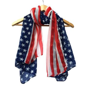Women Vintage Cover-up Summer Soft Chiffon American Flag Printed Scarf 2018 Hot Sale Scarves The New Arrival Dropship
