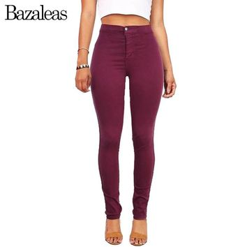 Bazaleas 2017 High Waist Stretch Women Jeans Skinny Pants American hip-lifting Casual Pencil Pants Apparel Wine Red
