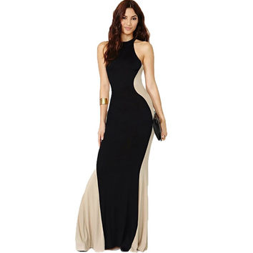 Comeondear Sleeveless Vestido Casual Elegant Long Retro Dress  Floor Length JARFF