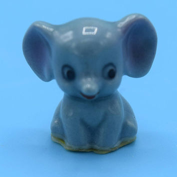 Miniature Elephant Porcelain Figurine Vintage Dollhouse Baby Elephant Tiny Toy Circus Animal Fairy Garden Decor Terrarium Figurine