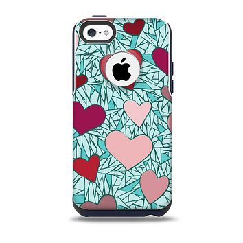 The Sharded Hearts On Teal Skin for the iPhone 5c OtterBox Commuter Case