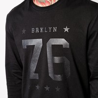 ASOS Skater Long Sleeve T-Shirt With Brooklyn Print at asos.com