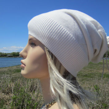 Ivory Cream Hat Slouchy Beanies Cashmere Blend Argyle Print for Women  A1416