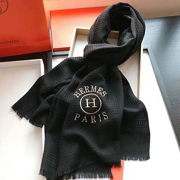 Hermes Trending Women Men Stylish Embroidery Cashmere Scarf Shawl Scarves Accessories Black