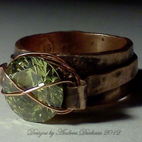 OOAK Wide Copper Ring with outer band, Peridot CZ wire wrapped...Green with Envy