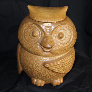 Vintage Ceramic McCoy Owl Cookie Jar, Matt Glaze Finish, 1970s, Hoot Owl, Cookie Jar (P033)