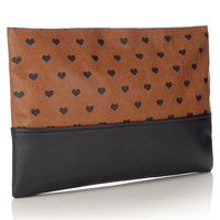 Heart Print Oversize Clutch | Brown | Accessorize