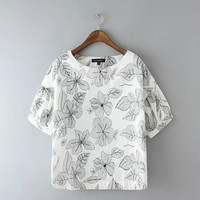 White Floral Print Cuffed Short-Sleeve Blouse
