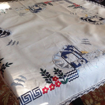 Embroidered Cotton Tablecloth Crochet Lace Trim Red White Blue Square Greek Key Design Vintage Kitchen