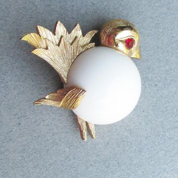 Signed NAPIER Milk Glass Jelly Belly Chick Baby BIRD Vintage Pin