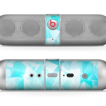 The Vector Abstract Shaped Blue Overlay Skin for the Beats by Dre Pill Bluetooth Speaker