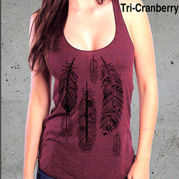 Womens FEATHER (dangling) american apparel Tri-Blend Racerback Tank Top S M L - (7 Color Options)
