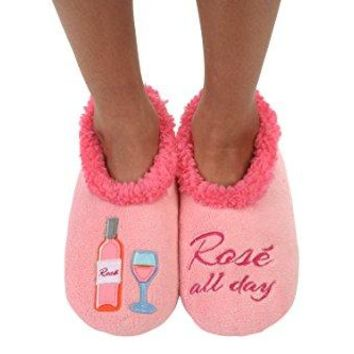 Snoozies Womens Classic Splitz Applique Slipper Socks Large Rose All Day
