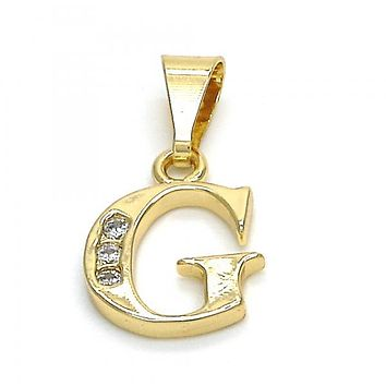 Gold Layered 05.26.0019 Fancy Pendant, Initials Design, with White Cubic Zirconia, Polished Finish, Golden Tone