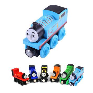ICIK272 wooden toys thomas train Magnetic thomas and friends Wooden Model Train for baby children Kids 6 Colors