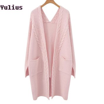 Girl Casual Long Knitted Cardigan 2018 Autumn Winter Women Twisted Flowers Solid Pocket Design Sweater Jacket Loose Cardigans