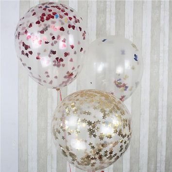 Retail 36 Inch Giant Clear Confetti Party Ideas Balloon for Romantic Valentines Day Wedding Party Layout Decoration