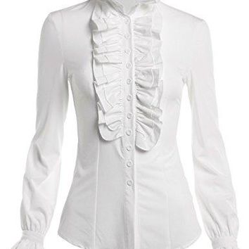 Mosocow Womens Vintage Victorian Ruffle Long Sleeve Shirt Blouse Tops