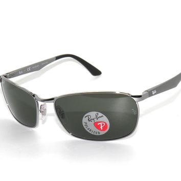 ~RAY BAN SUNGLASSES 3534 GUNMETAL/GREEN POLARIZED 004/58 RAYBAN NEW!!!