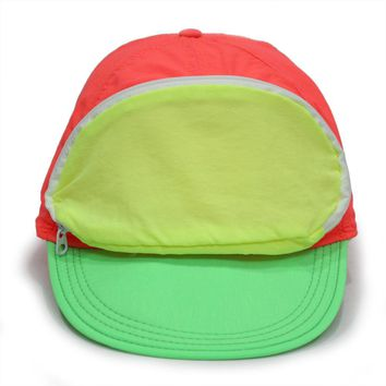Cap Sac Adjustable Cap with Pocket Tri-color Sherbert - Orange/Green/Yellow