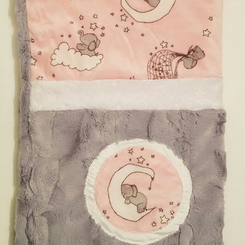 Elephant Nursery Bedding, Minky Blanket, Newborn Girl Bedding, Newborn Bedding, Newborn Minky Blanket, Baby Girl Blanket, Newborn Girl