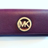 NWT Michael Kors Fulton Flap Continental Leather PVC Wallet Various Color $178