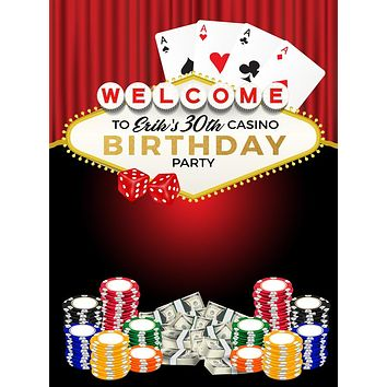 Custom Casino Poker Chip Gold Sign Party Backdrop (ANY TEXT) Engagement, Birthday, Baby Shower - C0206