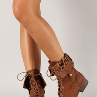 Surprise-01U Leopard Cuff Military Lace Up Boot