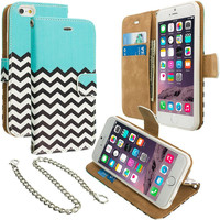 Mint Green Zebra Leather Wallet Pouch Case Cover with Slots for Apple iPhone 6 6S (4.7)