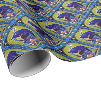 Blue Cat With Goldfish Whimsical Cat Art Wrapping Paper