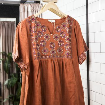 Ibiza Embroidered Top, Rust