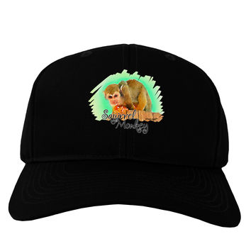 Squirrel Monkey Watercolor Text Adult Dark Baseball Cap Hat