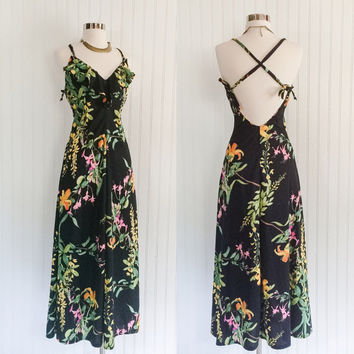 neon floral vintage 70s black draped jersey tropical halter convertible straps maxi dress //  ruffle bust // size XS