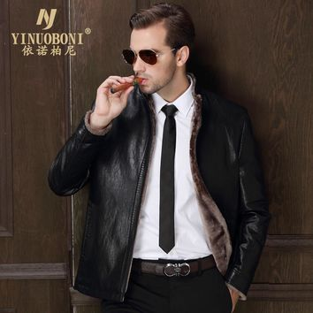 Leather Jacket Male Lapel Cashmere Coat