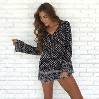 Effortless Print Long Sleeve Romper