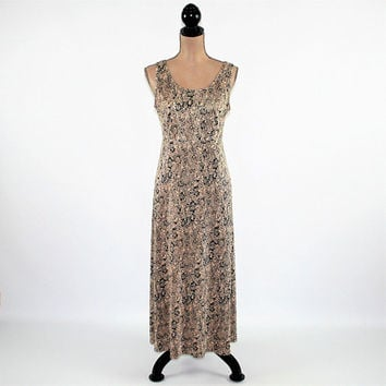 90s Sleeveless Maxi Dress Long Floral Dress Summer Crinkle Empire Waist Black Beige Size 10 Dress Medium Dressbarn Vintage Clothing Women