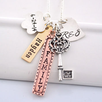 Personalized Mixed Metal Hand-Stamped Necklace