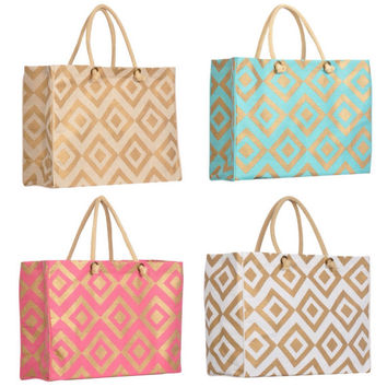 Monogrammed Tote, Large Market Bag, Large Beach Bag