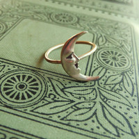 Brass Crescent Moon Ring on Antiqued Brass by PhenomenaJewelry