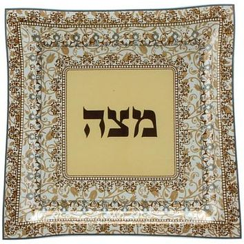 Glass Passover Plate 28cm- Brown