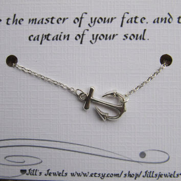 Anchor Charm Necklace and Inspirational Quote Inspirational Card- Bridesmaids Gift - Friendship Necklace - Friends Forever - Quote Gift