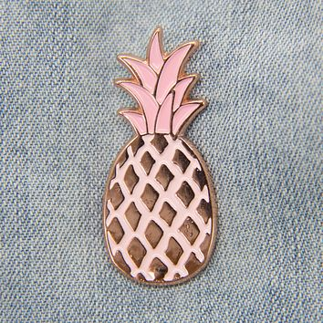 Pink Pineapple Enamel Pin in Rose Gold