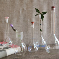 Vintage Set Glass Flasks -  Medical Pharmaceutical Laboratory Scientific Pyrex Beakers