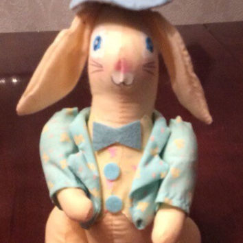 "Vintage Easter Bunny, Painted Cotton Plush, Decoration Rabbit, Easter Bunny in Suit and Top Hat, 5"" Tall"