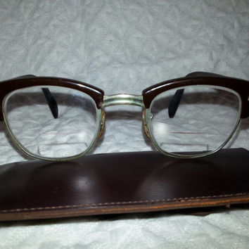 Vintage Dark Brown 1950s American Optical Eyeglasses