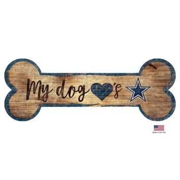 Dallas Cowboys Distressed Dog Bone Wooden Sign