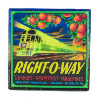 Handmade Coaster Right-O-Way Brand - Vintage Citrus Crate Label - Handmade Recycled Tile Coaster