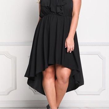 Black Ruffle Draped Plus Size Short Sleeve High-low High Waisted Party Maxi Dress